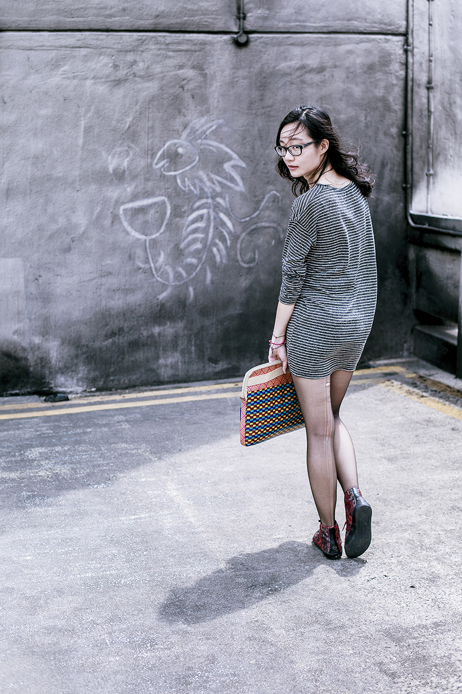 Zara striped tunic, DKNY sheer tights, The Little Fox necklace from Etsy, Fossil tribal design laptop sleeve, Gap black frame glasses, Alexander McQueen x Puma high top sneakers.