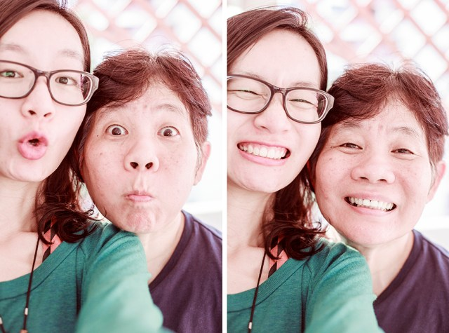 Me and my mum making funny faces.