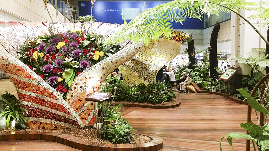 Enchanted Garden at Terminal 2 of Changi Airport, Singapore.