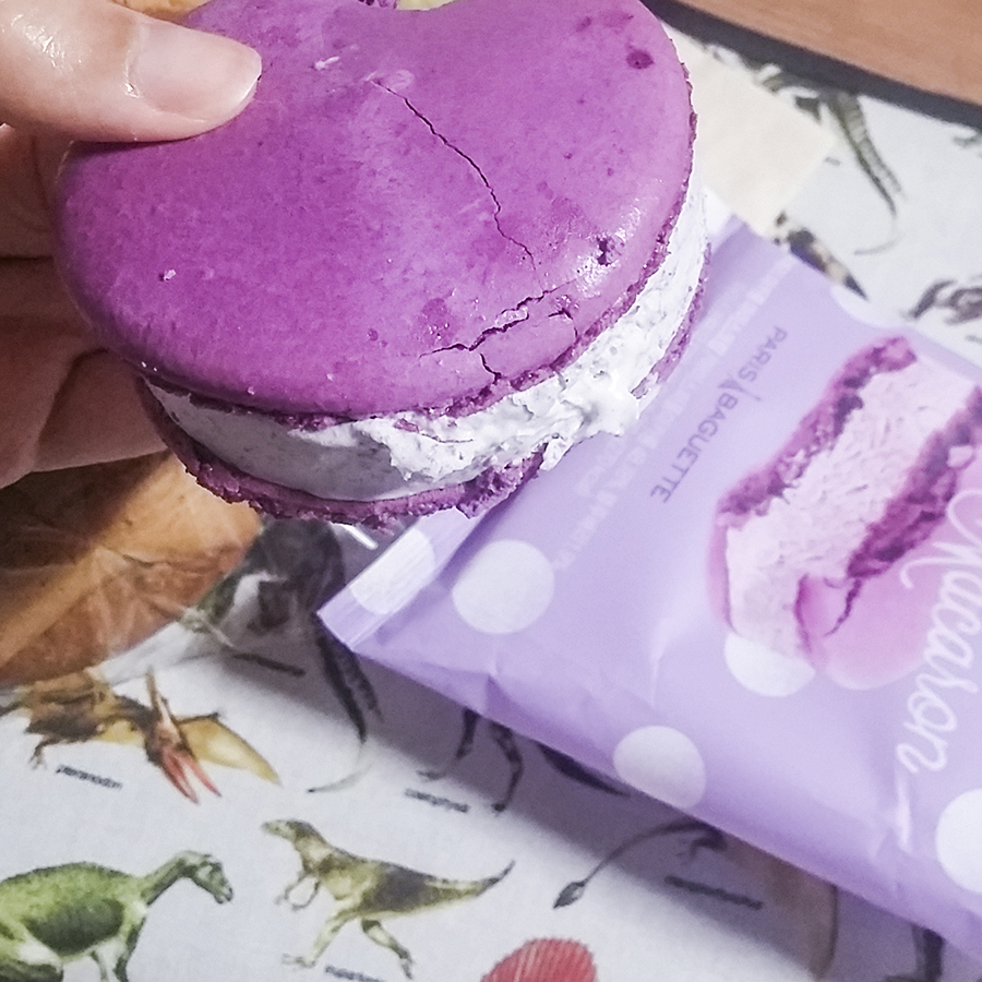 Blueberry ice cream macaron from Paris Baguette, South Korea.