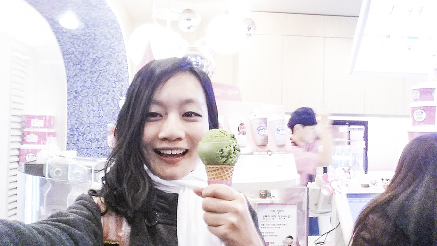 Green Tea ice cream from Baskin Robbins, Sangju, South Korea.
