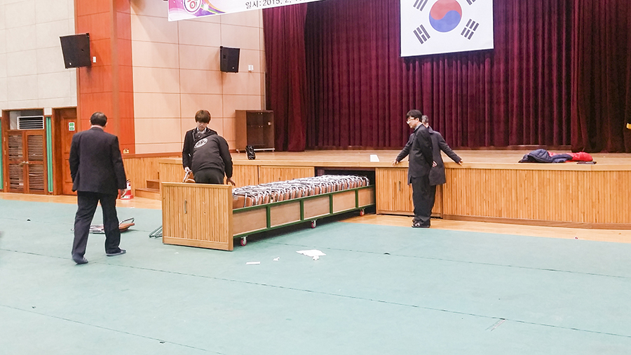 Keeping chairs in the gymnasium in a school in Sangju.