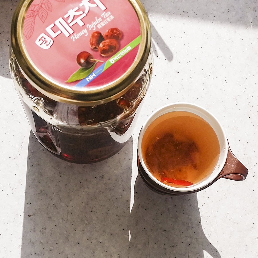 Honey Jujube Tea (honey red dates tea) in the Teacher's lounge in a school in Sangju, South Korea.