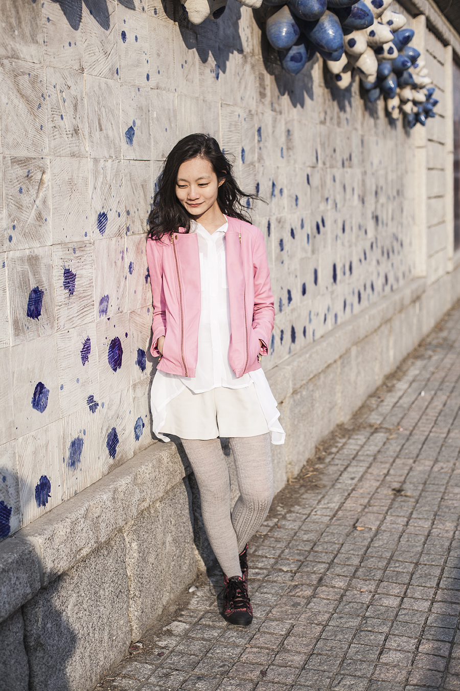 Outfit for Korea winter 15: pink lambskin leather jacket from Viparo #viparowomen #viparoteam #viparo, tan long cardigan from Zara, white shorts from Lowrys Farm, sheer white chiffon shirt from M)phosis, white pashmina shawl from India, grey heattech tights from Uniqlo, red high top sneakers from McQ x Puma.