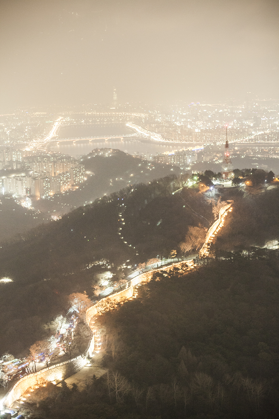 Nightscape from the observation deck of Namsan Tower, Seoul, South Korea.