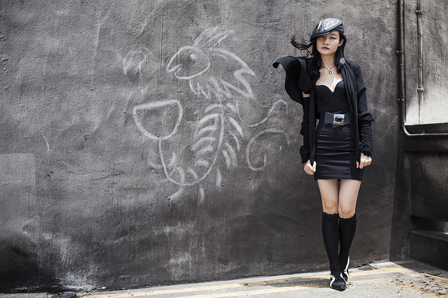 Vedette Shapewear Abella in black skirt bodysuit with bra, black skirt from Forever 21, black faux leather pageboy cap from Korea, black cardigan from Moda at George, black jem elastic belt from Purpur, black lace socks from Takashimaya Department Store, gold ceramic necklace from Woodsworth, black and white cutout oxford flats from Something Borrowed via Zalora.