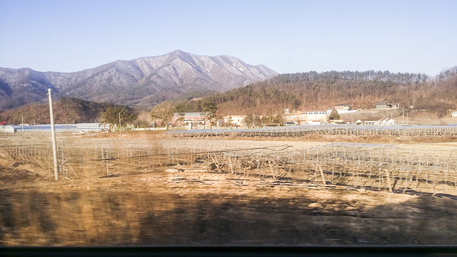 View of mountain against the backdrop of farms in Sangju, South Korea.