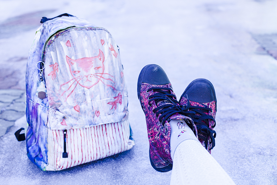 Alexander McQueen x Puma red sneakers via Shopbop, DIY acrylic paint cat and goldfish backpack on NDP 2014 funpack.