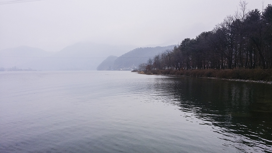 Mountains and lake scene from Nami Island, Gapyeong, South Korea.
