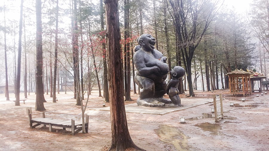 Huge mother feeding child sculpture at Nami Island, Gapyeong, South Korea.