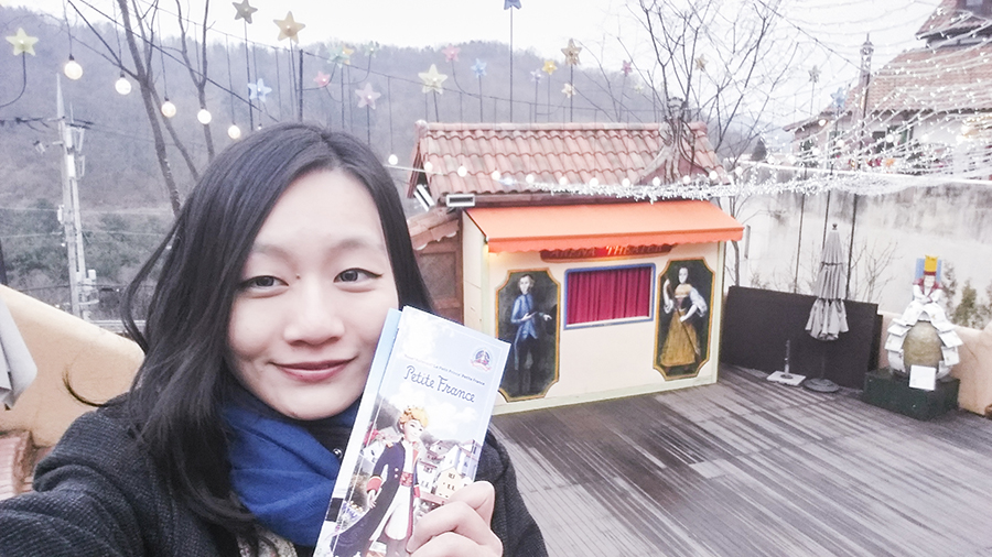Selfie with brochure at Le Petit France, Gapyeong, South Korea.