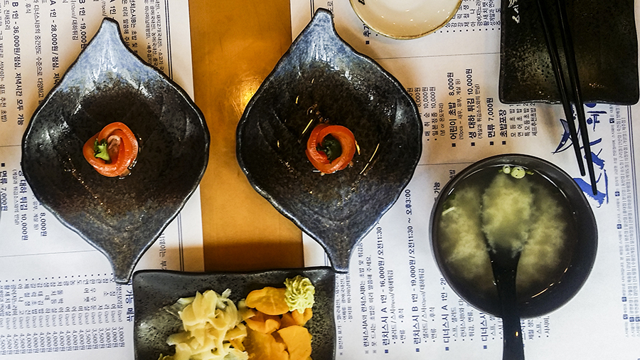 Salmon roll at Myeongdong, Seoul, South Korea.