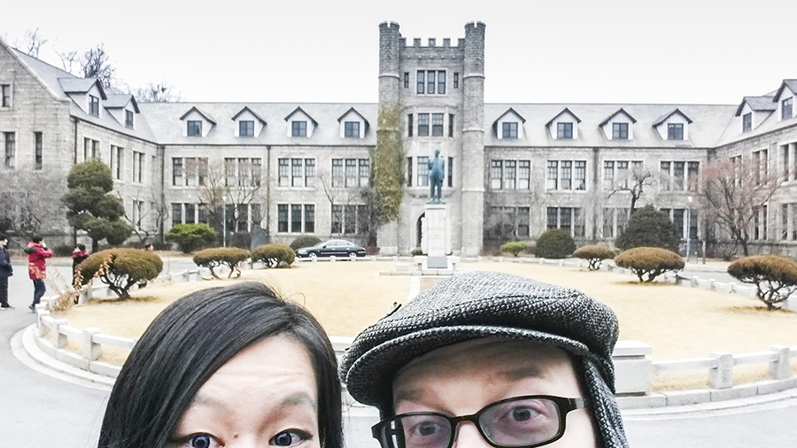 Thumb selfies at Choongang High School in Bukchon, South Korea.