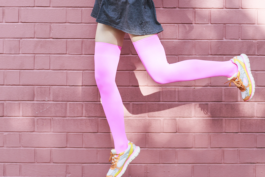 We Love Colors Outfit: We Love Colors neon pink thigh high stockings, Skechers neon sneakers, Forever 21 grey babydoll dress.