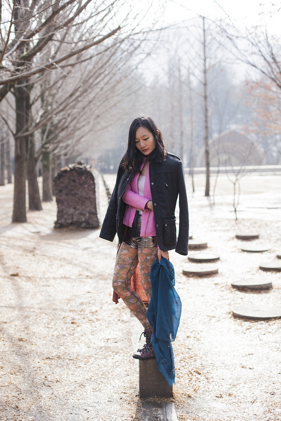 Outfit at Nami Island: Uniqlo grey bratop camisole, Viparo pink lambskin leather jacket with gold zipper, Forever 21 silver party shorts, Urban Outfitters floral lace tights, H&M grey men's coat, Marshalls blue shawl with gold studs.