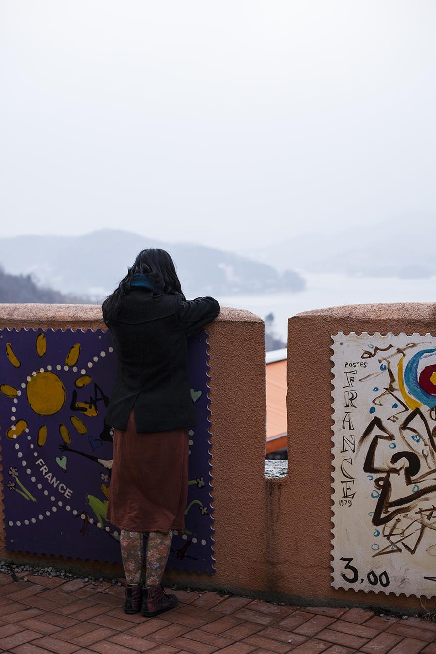 Ren looking over the shore at at Le Petit France, Gapyeong, South Korea.