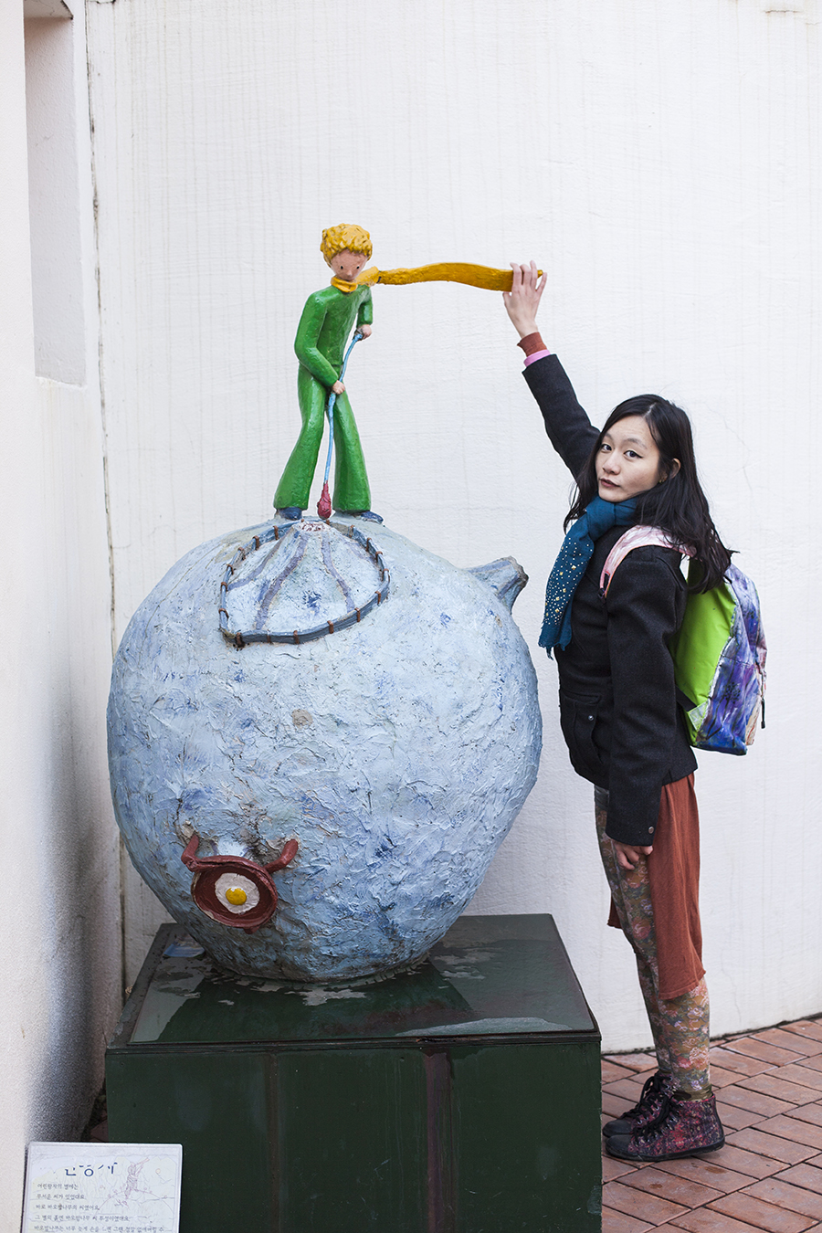 Posing with a sculpture of  the Little Prince on an asteroid at Le Petit France, Gapyeong, South Korea.