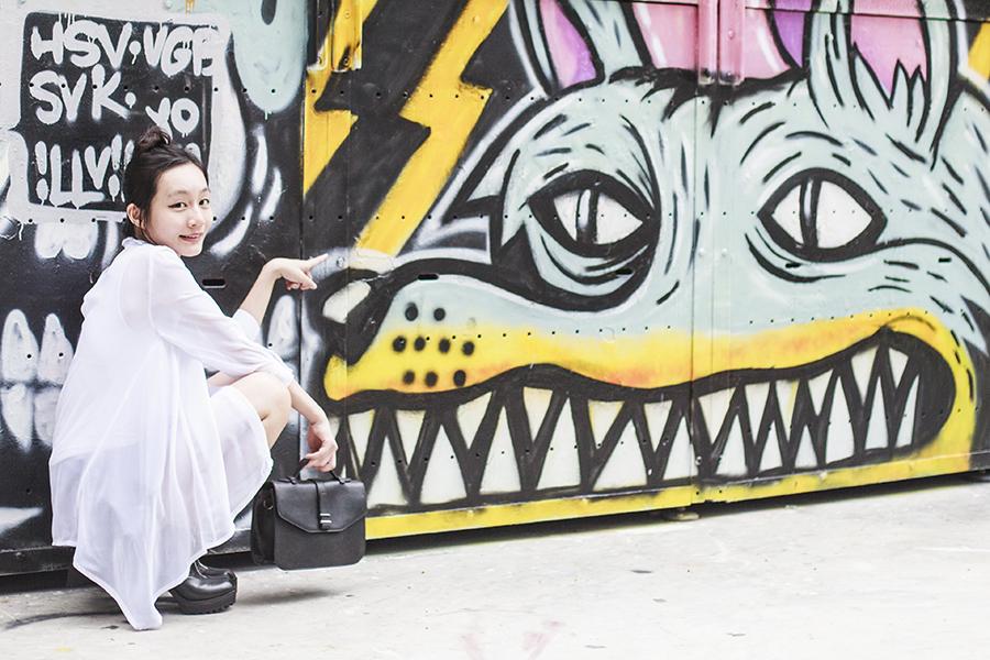 Black and white outfit of the day: Rubi black platform heeled boots via Zalora, M)phosis white asymmetrical shirt, black skorts from Bangkok, Zalora black handbag,