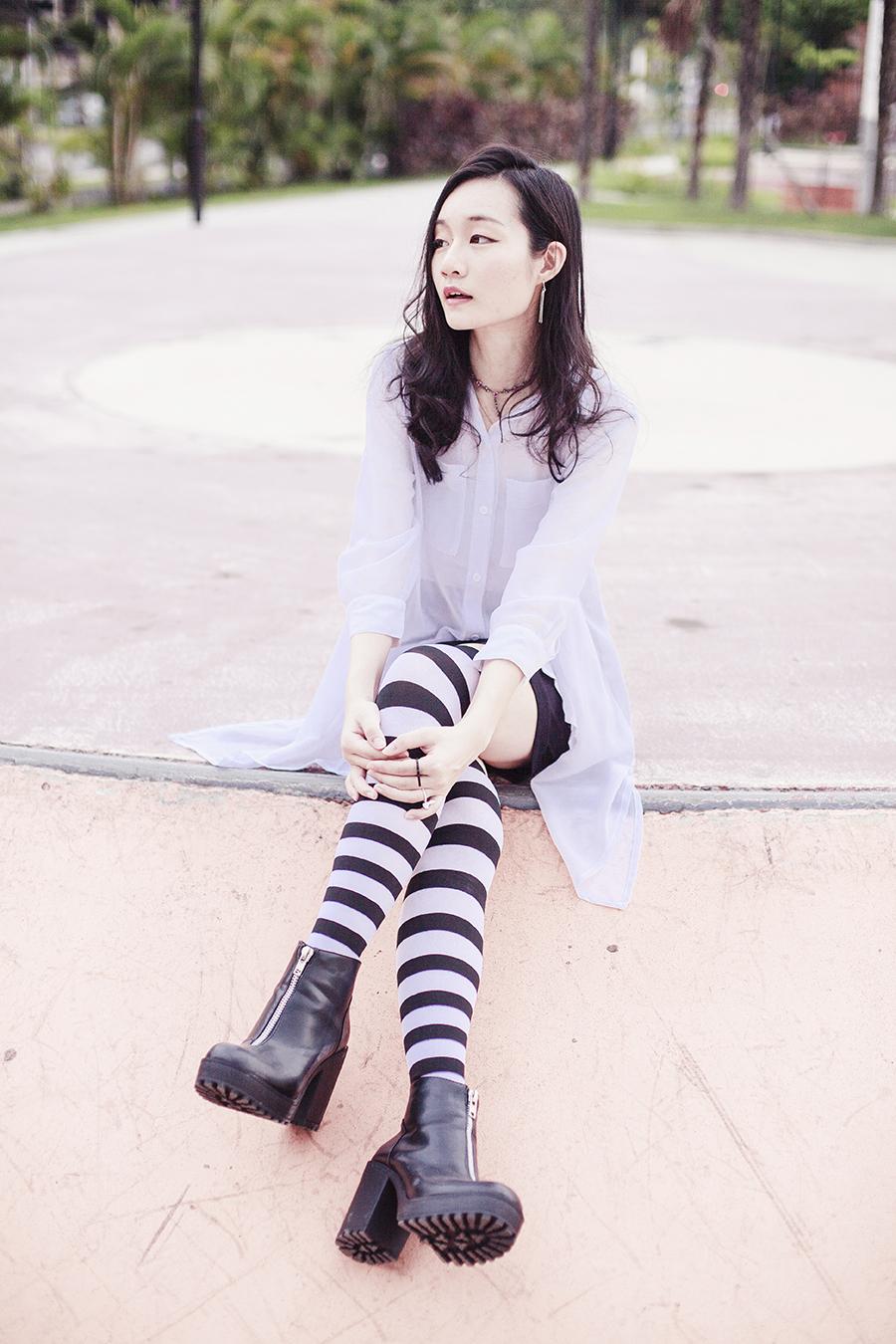 Monochrome ootd: M)phosis white shirt, Forever 21 black skirt, We Love Colors b&w striped thigh high stockings, Rubi black platform boots, Paris Kids rose necklace.