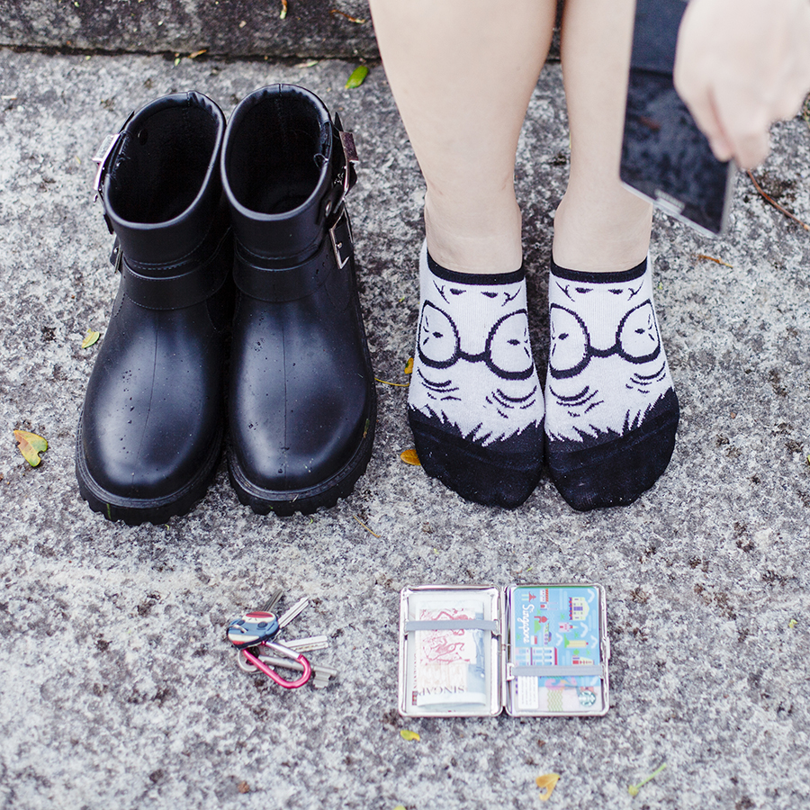 Flatlay: black rain boots from Dav Rain, silver card case from Forever 21,  salaryman face ankle socks from Ggorangnae Korea.