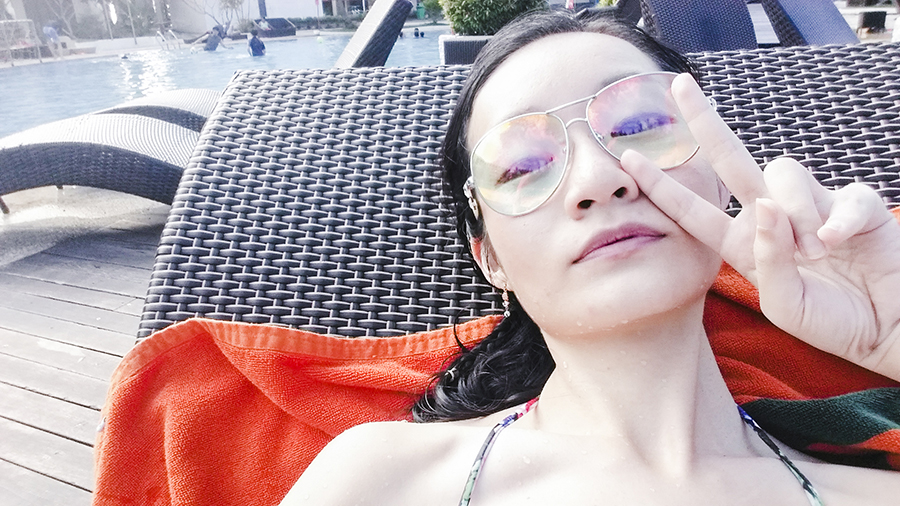 Selfie by the pool at Harris Waterfront Resort, Batam, Indonesia.
