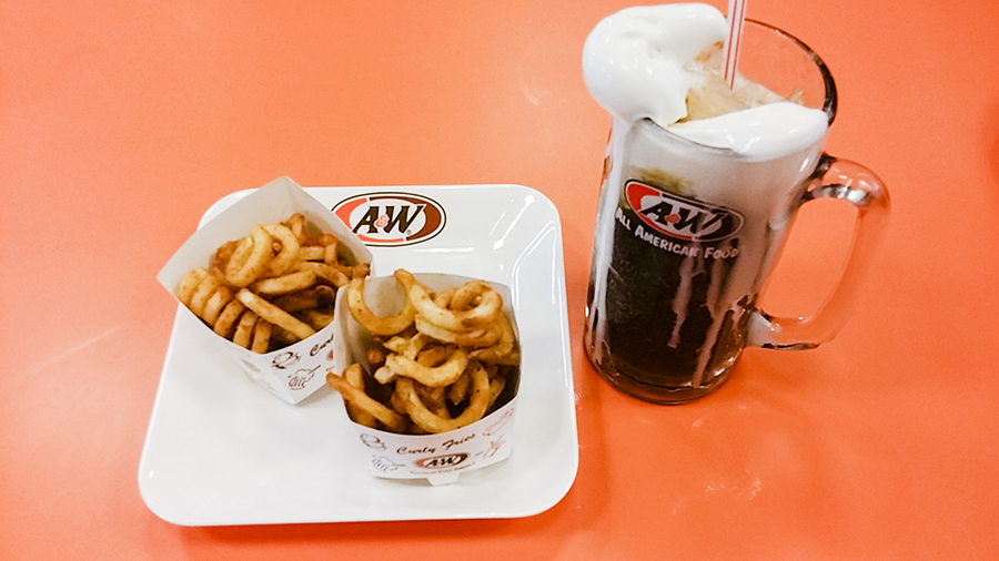 Curly fries and root beer float at A&W in Nagoya Hill Shopping Center, Batam, Indonesia.