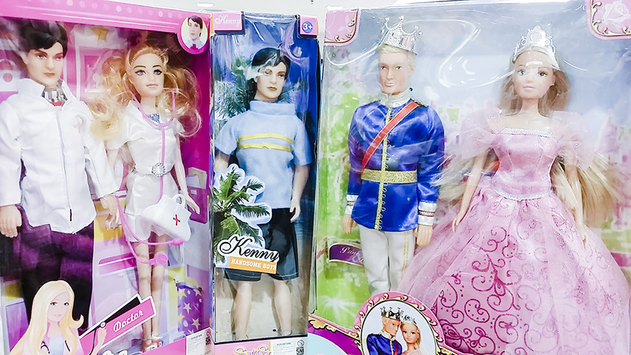 Fake Barbie and Ken dolls at a department store in Nagoya Hill Shopping Center, Batam, Indonesia.