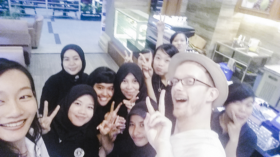 Selfie with the staff at Bistro Godiva in Nagoya Hill Shopping Center, Batam, Indonesia.