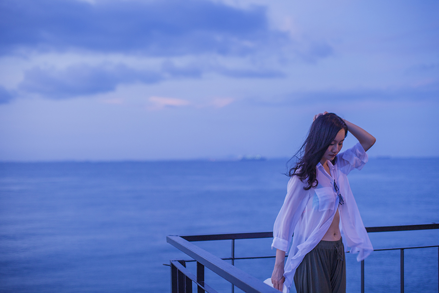 Against the sea at dusk in Turi Beach Resort, Batam, Indonesia.