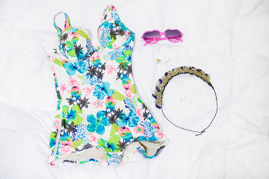 Outfit flatlay: Vedette Sha pewear Bessie Swimwear Shapewear, Forever 21 lime green denim cutoff shorts, Osewaya mermaid ear studs via JRunway, pink heart-shaped sunglasses, Garlands and Gardens floral headband.
