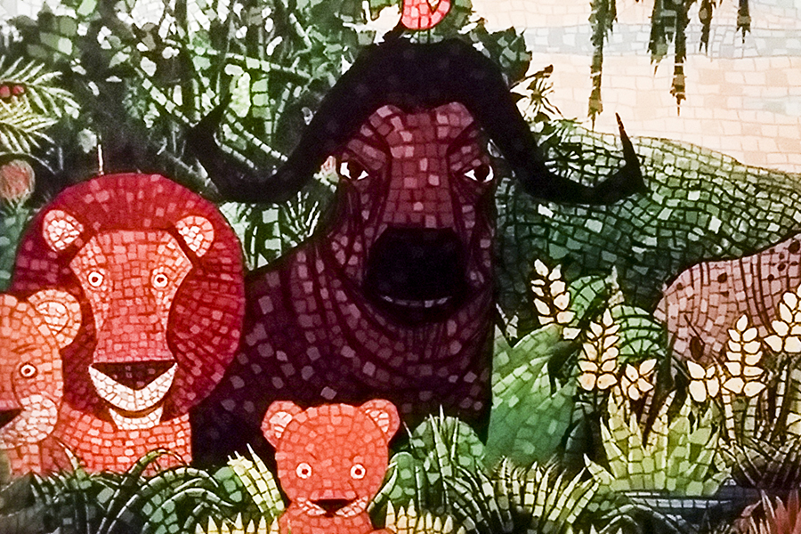 Detail of a mosaic for Madagascar, 2005 at the DreamWorks Animation: The Exhibition at the ArtScience Museum in Marina Bay Sands, Singapore.