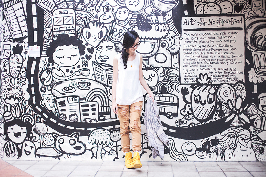 Casual Outfit: DressLink open back white chiffon top, Forever 21 tan ripped skinny jeans, Converse yellow rubber all star chuck taylor sneakers, Taobao quirky hotdog socks, Gap black frame glasses, Coldwater Creek thrifted happi open kimono, L.A. Colors purple lipstick, Vintage duckie wooden pin. Against a Band of Doodlers wall mural in Macpherson, Singapore.