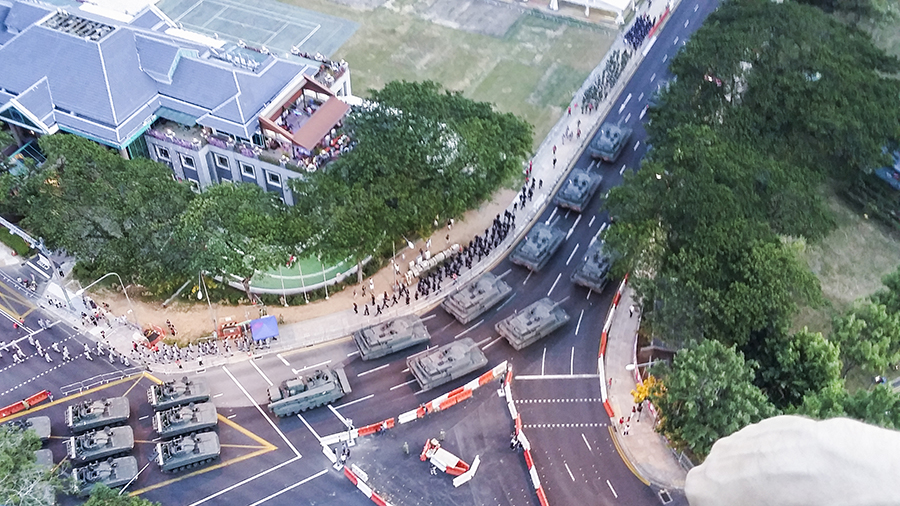 Military tanks lining up for the National Day Parade 2015 dress rehearsal at the Padang.