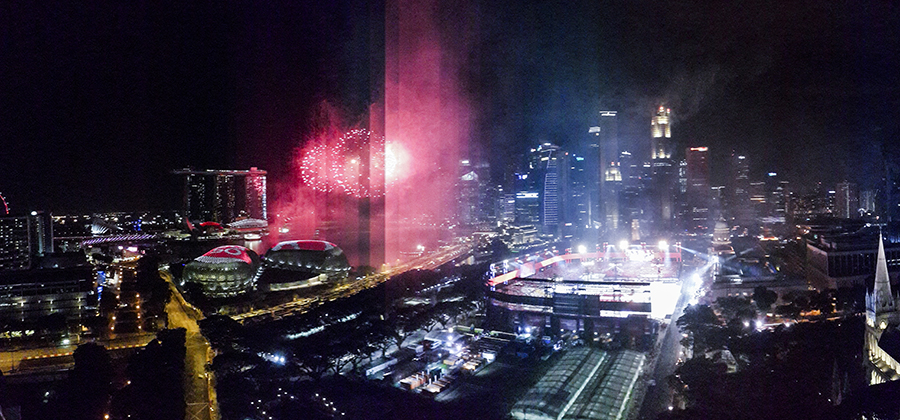 Panoramic view of the fireworks at the National Day Parade 2015 dress rehearsal at the Padang.