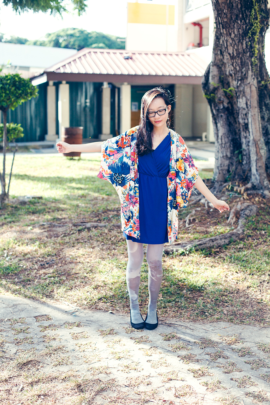 Moon Flowers outfit: DressLink floral kimono cardigan, Passport Love blue v-neck dress, Urban Outfitters moon landscape tights, Rubi black ballet flats, Gap black frame glasses, handmade cutlery earrings.