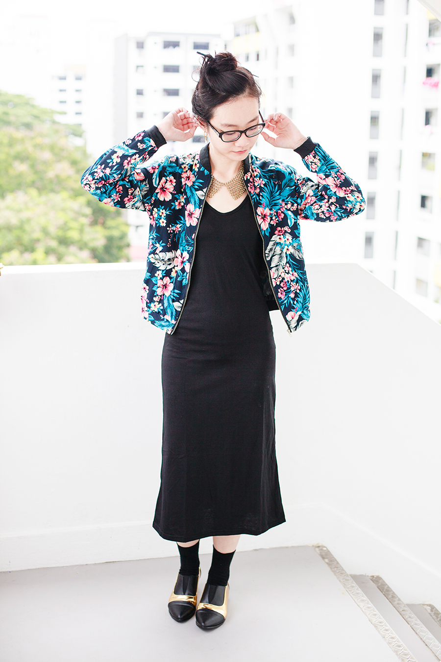 Day to night outfit: Newdress blue floral jacket, Newdress v-neck strappy black dress, Forever 21 gold chain collar necklace, Gap black frame glasses, Taobao black crew socks, Something Borrowed Dual-Toned black and gold Pointed Flats via Zalora.