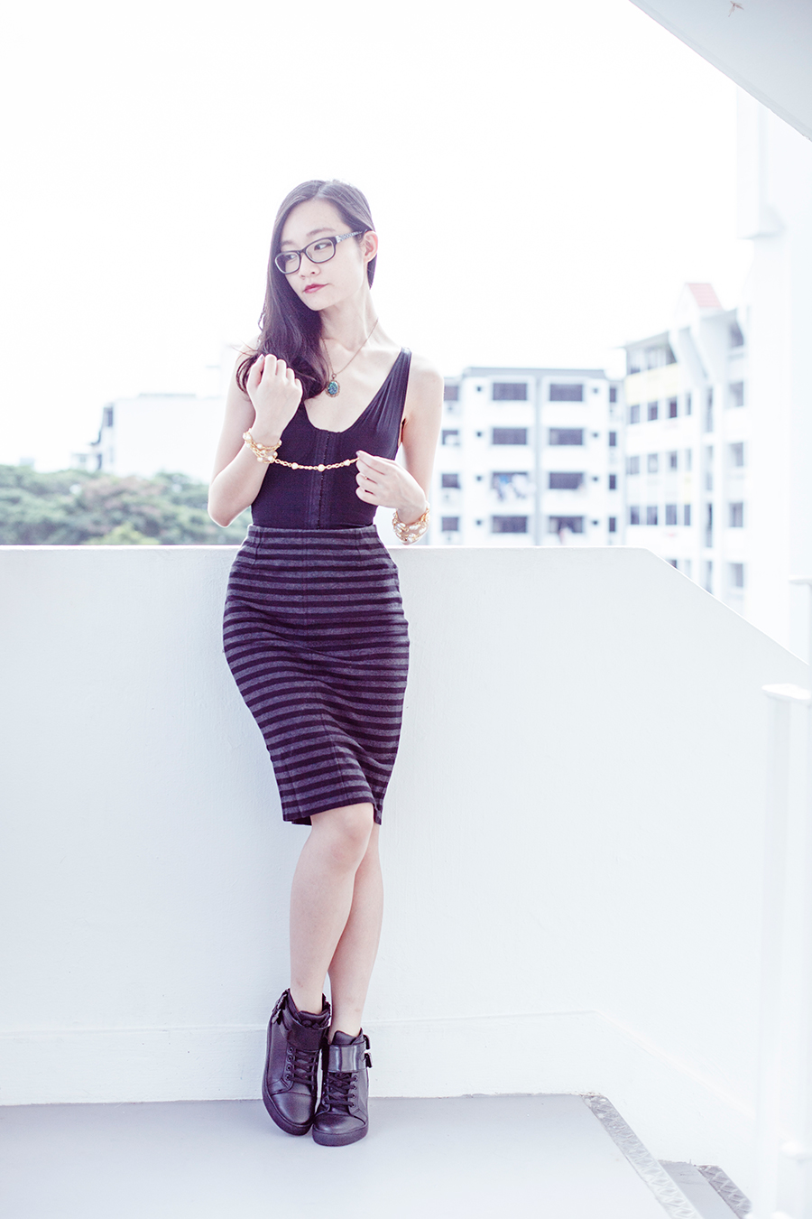 Vedette Shapewear outfit: Vedette Shapewear Florence bodysuit, Uniqlo striped pencil skirt, Gap black frame glasses, Zalora PU high top sneakers, Simply Willow opal necklace via Etsy, vintage gold necklace.