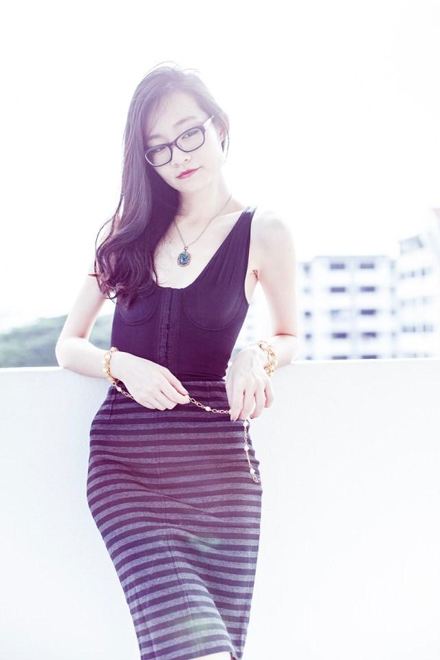 Vedette Shapewear outfit: Vedette Shapewear Florence bodysuit, Uniqlo striped pencil skirt, Gap black frame glasses, Simply Willow opal necklace via Etsy, vintage gold necklace.