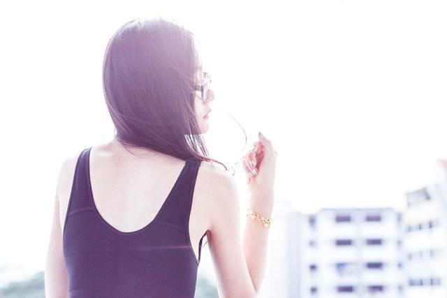 Vedette Shapewear outfit: Vedette Shapewear Florence bodysuit, Gap black frame glasses, vintage gold necklace.