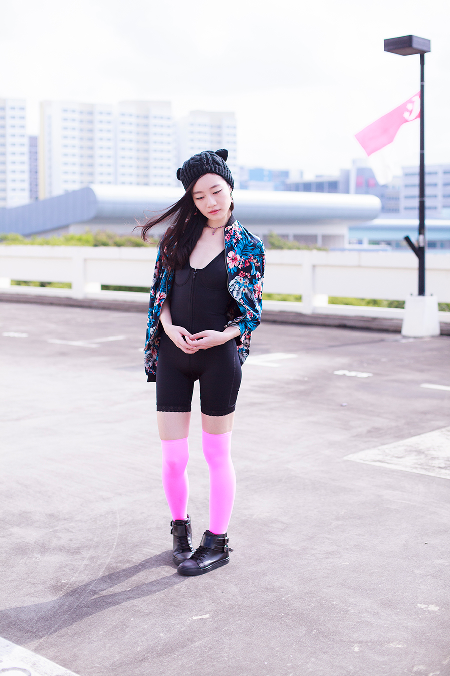 Cat outfit: Vedette Shapewear Celeste black onepiece shaper, Newdress blue floral jacket, We Love Colors neon pink thigh high stockings, DressLink black cat ear beanie, Zalora black high top PU sneakers, Paris Kids rose pink necklace, Vintage pink rock earrings.