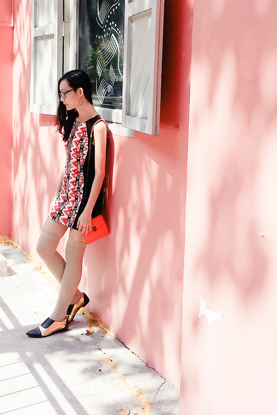 Golden Shoes outfit: H&M red and black bodycon dress, beige thigh high socks, Something Borrowed black and gold dual toned pointed flats via Zalora, Steve Madden mini orange sling bag.