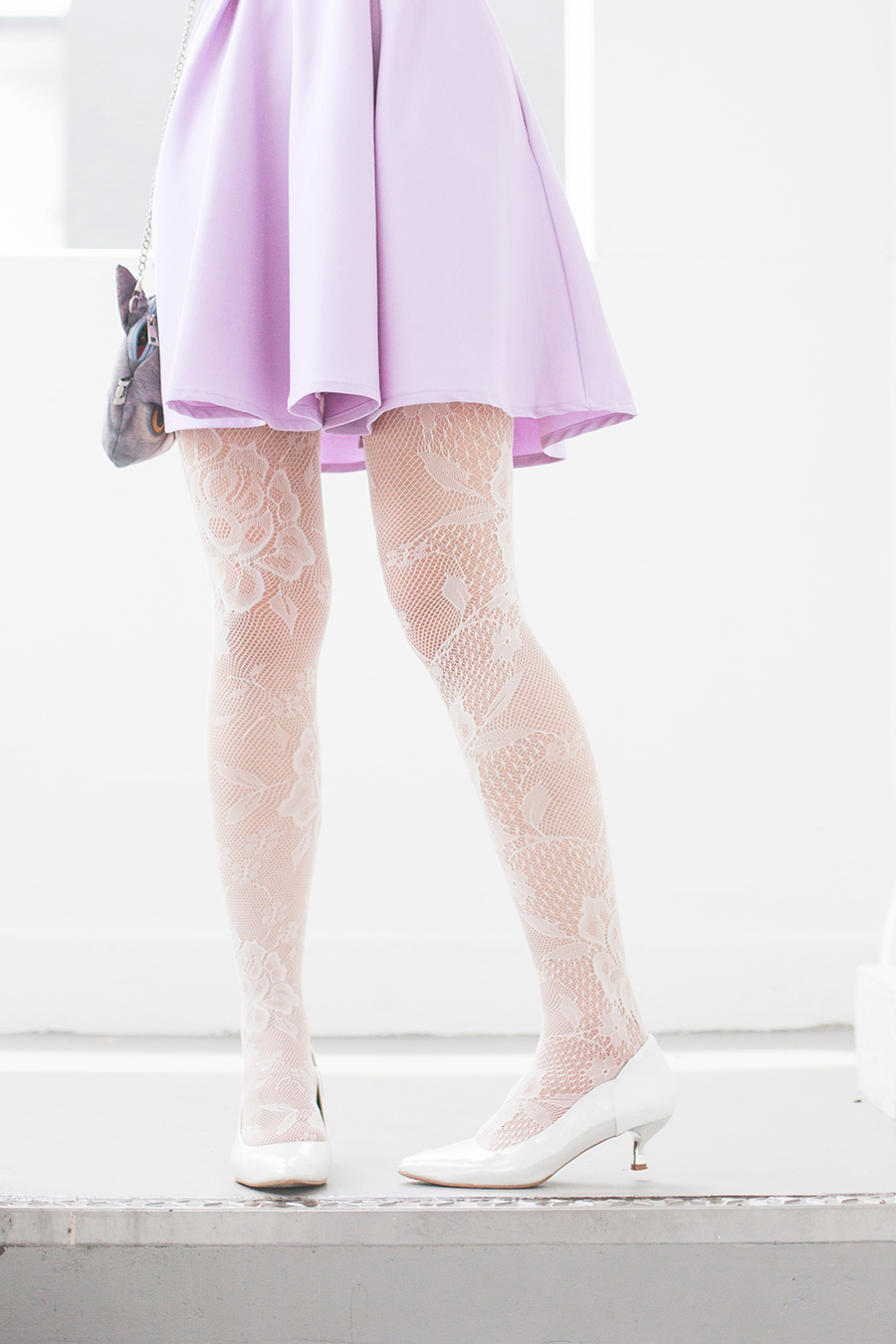 Wedding bridesmaid outfit: The Velvet Dolls Arianna Off-Shoulder Dress in Lilac, Miwo grumpy cat face bag, Forever 21 white lace tights, Vincci white pumps