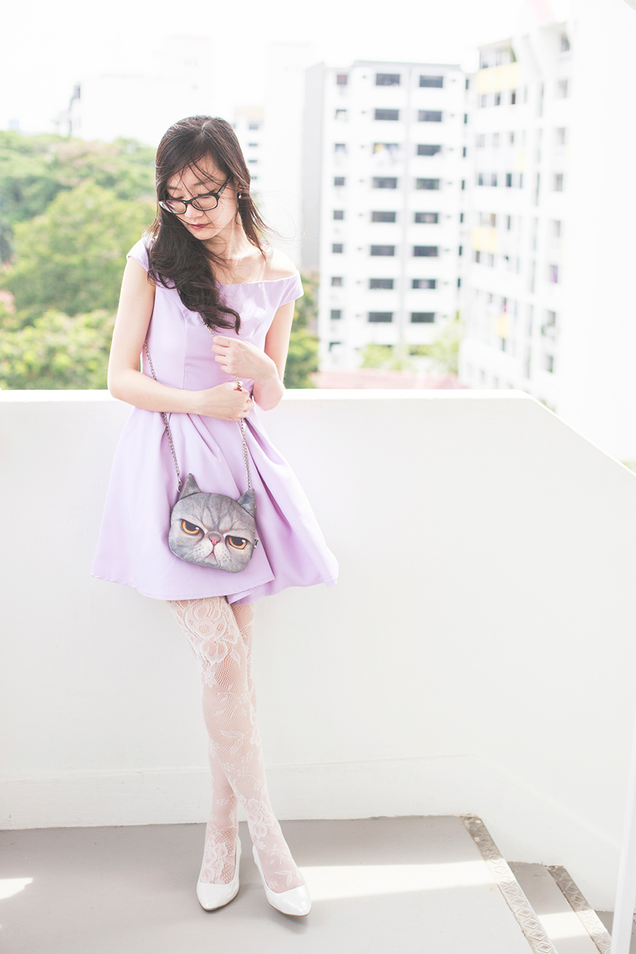 Wedding bridesmaid outfit: The Velvet Dolls Arianna Off-Shoulder Dress in Lilac, Miwo grumpy cat face bag, Forever 21 white lace tights, Vincci white pumps, Osewaya mermaid earrings, Gap black frame glasses
