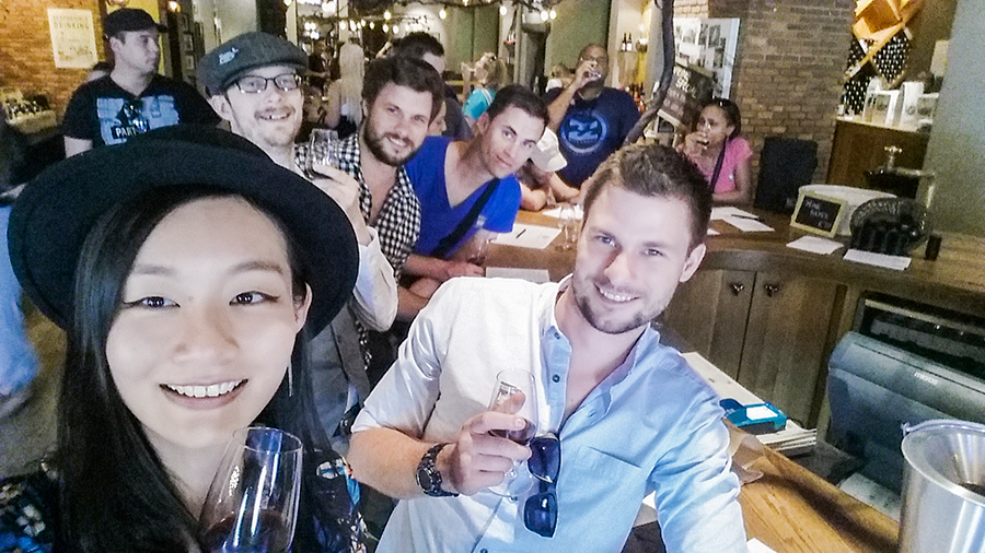 Group photo wefie selfie at the wine tasting at Fairview Wine and Cheese, South Africa.