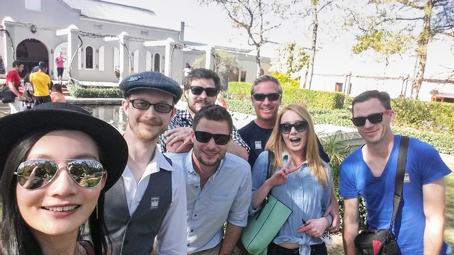 Group photo in sunglasses at Fairview Wine and Cheese, South Africa.