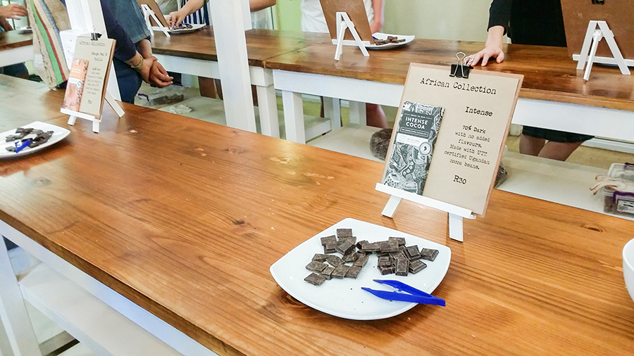 Chocolate sample at Fairview Wine and Cheese, South Africa.