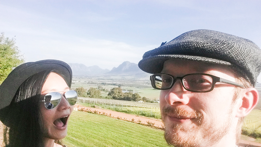 Goofy selfie at Fairview Wine and Cheese, South Africa.
