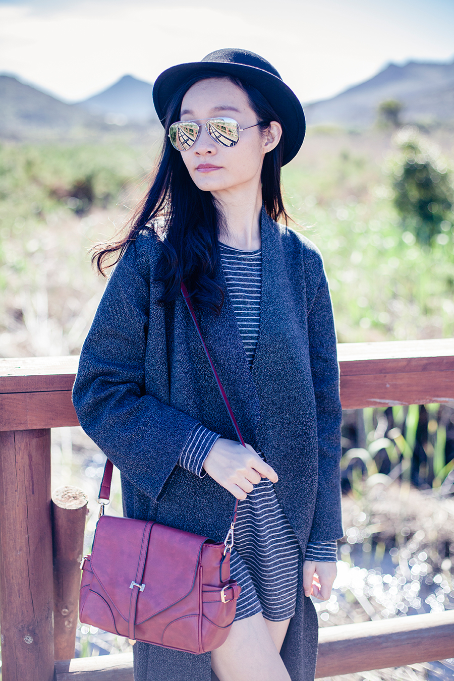Silvermine Outfit: Zara striped tunic dress, Zara grey knit coat, Dressgal red satchel, Dressin silver mirror sunglasses.