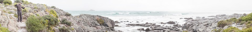 Panoramic landscape of the South Atlantic Ocean from at Yzerfontein, South Africa.