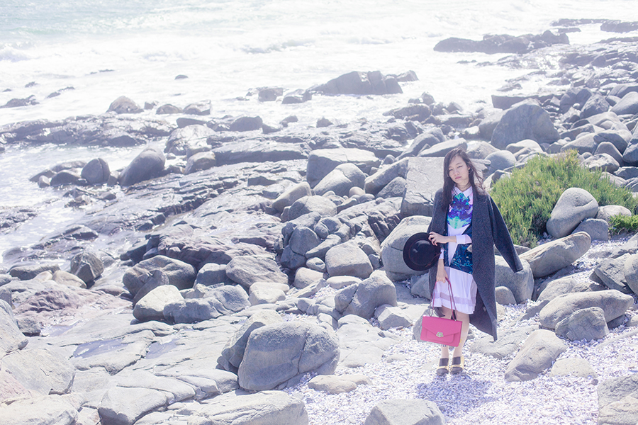 Outfit by the ocean at Yzerfontein, South Africa: Kae Hana white rorschach mesh dress, Zara grey knit coat, Nine West pink satchel handbag, MoE printed tights, Dressin phoenix kimono cardigan, Something Borrowed black & gold pointed flats via Zalora, Taobao black hat.